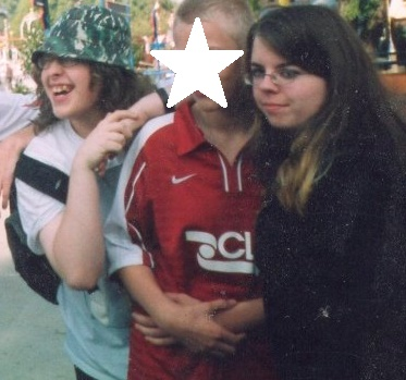 Joe (left) and moody goth me (right) - we still laugh about my stalking efforts